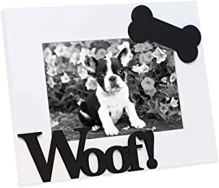 """Isaac Jacobs White Wood Sentiments Dog """"Woof!"""" Picture Frame, 4x6 inch, Photo Gift for Pet Dog, Puppy, Display on Tabletop, Desk (White)"""