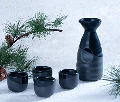 Hinomaru Collection Reactive Glaze Sake Set Tokkuri 10 fl oz Bottle with Four Sake Ochoko Cups 2 fl oz (Black)