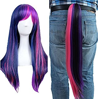 Anogol Free Cap + Purple Mix Pink Cosplay Wig with Ponytail for Cosplay Costume Party Halloween