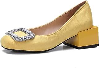 BalaMasa Womens APL12104 Leather Block Heels