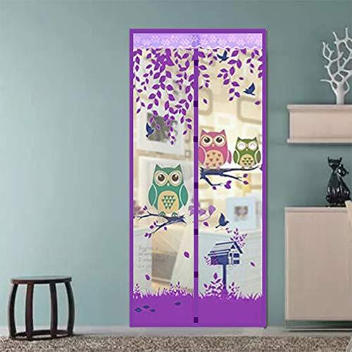 Magnetische Screen Door Mesh Curtain, Patroon van de Uil automatische sluiting Tulle Shower Curtain Mosquito Mesh Net 5 Kleur,Purple,90 * 210cm