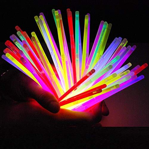 Lote de 100 bastones luminoso fluorescente varita luminosa snaplight fiesta - 5 colores diferentes con conector