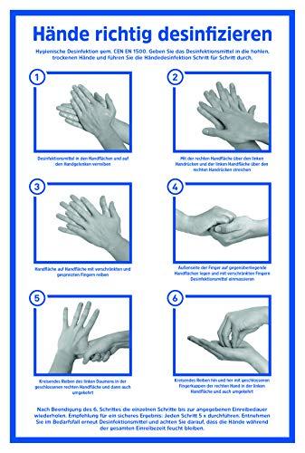 LEMAX® Hinweisschild Hände richtig desinfizieren | gemäß CEN EN 1500 | Alu 200 x 300 mm | Anleitung Händedesinfektion Hände waschen | Hygiene Desinfektion | Handdesinfektion Händewaschen