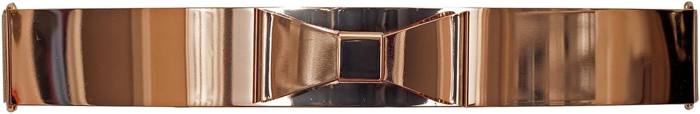 EVogues Plus size gold Metallic Big Mirror Bow Elastic Fashion Belt