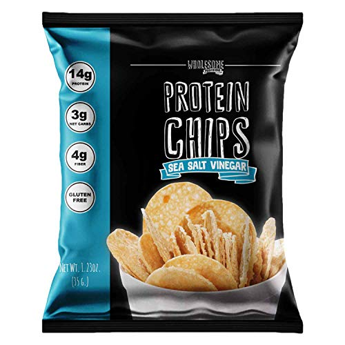 Protein Chips, 14g Protein, 3g-4g Net Carbs, Gluten Free, Keto Snacks, Low Carb Snacks, Protein Crisps, Keto-Friendly, Made in USA (Sea Salt Vinegar, 7 Pack)