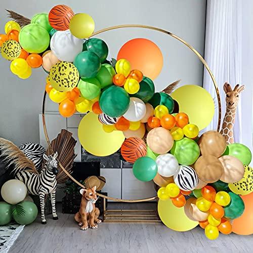 Jungle Safari Partito Palloncini Ghirlanda Kit,Jungle Animal Decorazione Festa di Compleanno con Palloncino Colorato per Ragazzi Ragazze Compleanno Baby Shower,Safari Decorazioni Festa a tema
