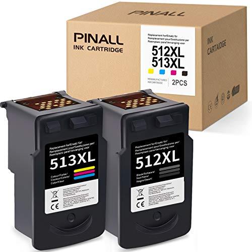 PINALL CL 513 PG 512 Cartuchos de tinta compatibles Canon CL 513 PG 512 CL-513 PG-512 para Canon Pixma iP2700 MP230 MX350 MP240 MP250 MX360 MX410 MX420 MX340 MP270 280 MP490 MP495 MX320(negro, color)