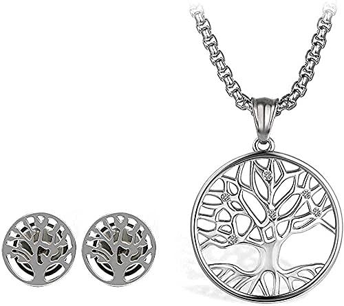 WYDSFWL Collares Conjuntos de Moda Un árbol de Acero Inoxidable Colgante Collar Conjuntos de Pendientes para Hombres Color Plateado