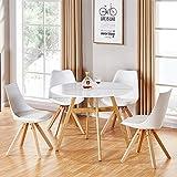 Designetsamaison Table à Manger Ronde scandinave en Bois 100cm - Umbria
