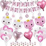 XJLANTTE Suministros para fiesta de cumpleaños de gato: pancarta de feliz cumpleaños de gato, globo de corona de gato, globo de macarrón de pata de gato, globo de corazón (juego 01)