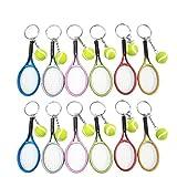LIOOBO 12 pièces Mini-Balle De Tennis Raquette Pendentif Porte-clés Cadeau pour Enfant Mini Raquette de Tennis Porte-clé Pendentif Fête de Sport Accessoires