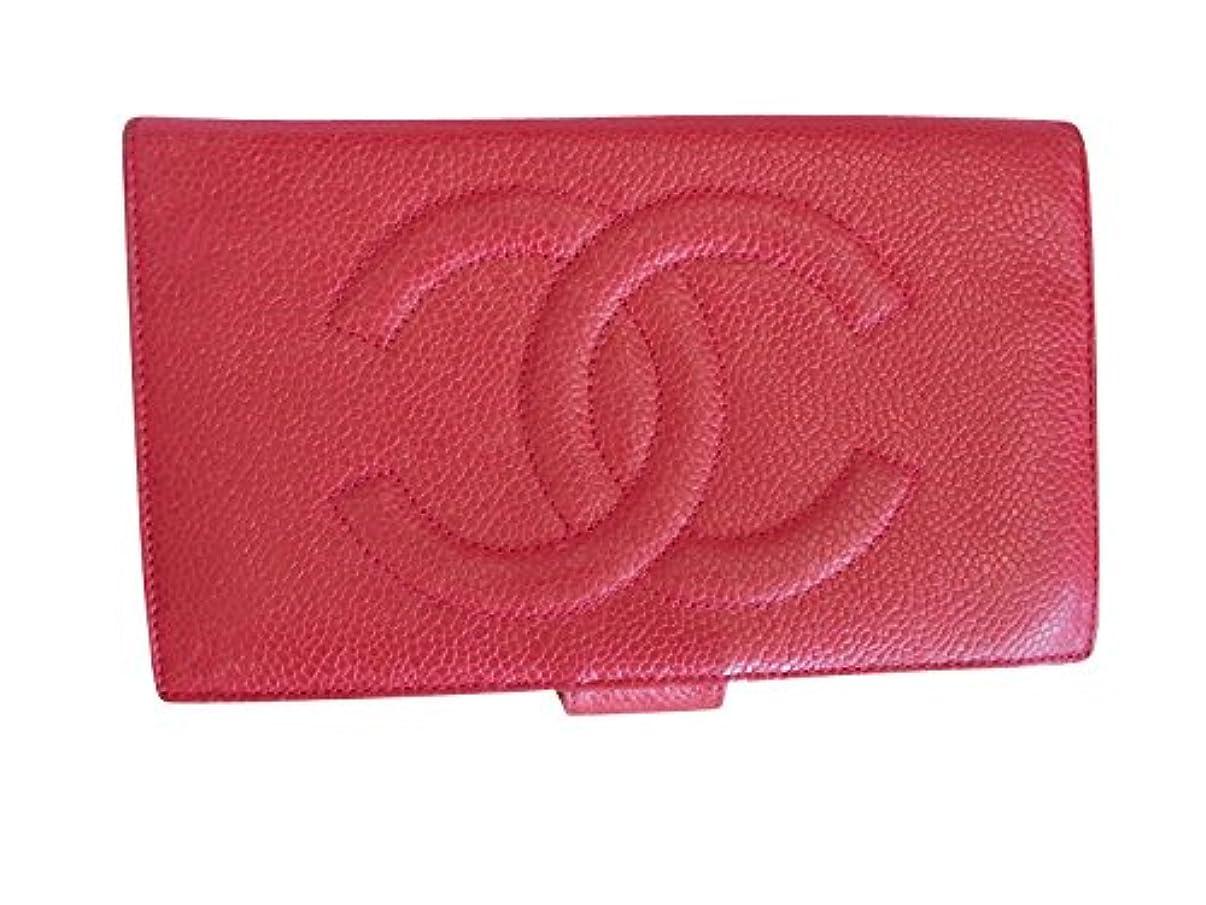 のど和解する前述のシャネル キャビアスキン マトラッセ 赤 長財布 中古