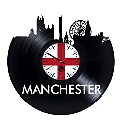 Manchester Poster Vinyl Record Wall Clock - Get unique Living room wall art décor - Gift ideas for brother and sister – Unique city art design - Leave us a feedback and win your custom clock