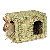 SunGrow Grass House, 11.8x7.8x9 Inches, Folding Woven Hut for Laying or Sleeping, Edible Chew Home, Multi-Utility Toy for Small Animals, Non-Toxic, Provides Comfort, Warmth and Security
