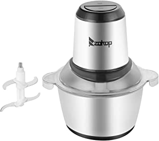 ROVSUN ZOKOP 8 Cup Electric Food Processor Small Chopper 2L 304 Stainless Steel Bowl, 300W One Touch Multipurpose Smart Kitchen Vegetable Onion Fruit Blender Mincer Slicer Dicer with 4 Blades, Silver