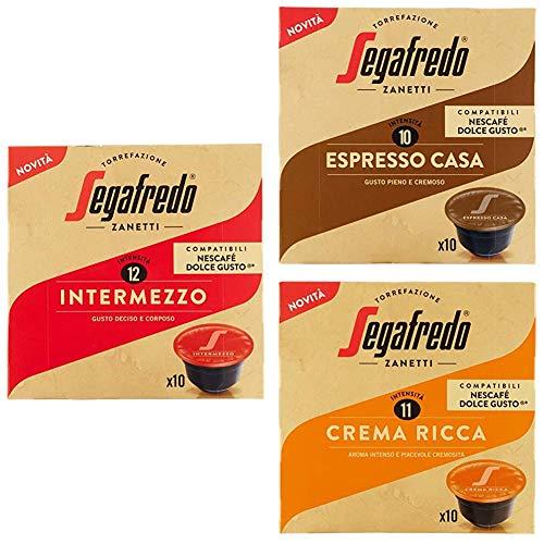 Segafredo - 60 Capsule Compatibili Dolce Gusto, Linea Le Classiche Gusto Intermezzo, Espresso Casa e Crema Ricca - 6 Astucci da 10 Capsule