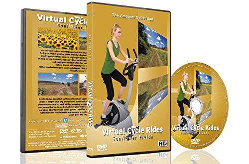 Virtuelle Fahrradtouren DVD - Sonnenblumen Felder - für Indoor Radfahren, Laufband und Jogging Workouts