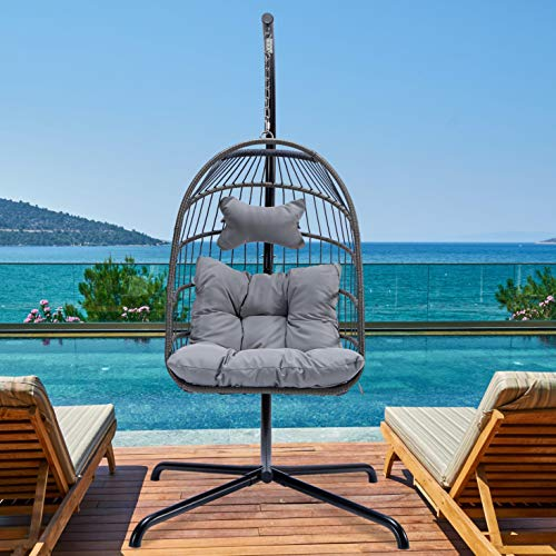 Hanging Chair with Stand Outdoor Swing Chair with UV Resistant Cushion Swing Egg Chair with Stand Sturdy Steel 330lbs Capacity (Grey Wicker)