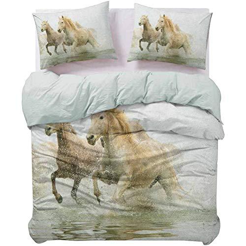 Juego de ropa de cama con diseño de caballos de camarga, raza antigua del sur de Francia, con diseño artístico y ligero, no siente ningún picor o rugosidad, color blanco, beige, tamaño Queen
