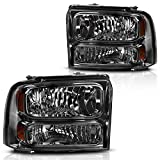 AUTOSAVER88 Headlight Assembly Compatible with 2005 2006 2007/05 06 07 ford F250 F350 F450 F550 Super Duty / 2005 ford Excursion OE Headlamp Replacement,Smoked Housing