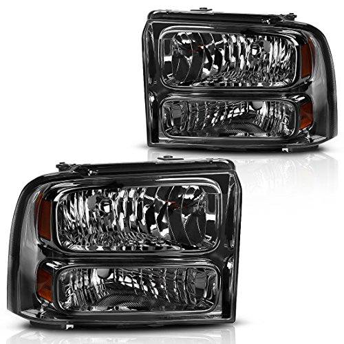 AUTOSAVER88 Headlight Assembly Compatible with 2005 2006 2007 ford F250 F350 F450 F550 Super Duty / 2005 ford Excursion OE Headlamp Replacement,Smoked Housing