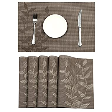 Pauwer Placemats Set of 6 Woven Vinyl Placemat for Dining Table Heat Resistant Placemats Non-slip Kitchen Table Mats Easy to Clean (6, Floral Light Coffee)