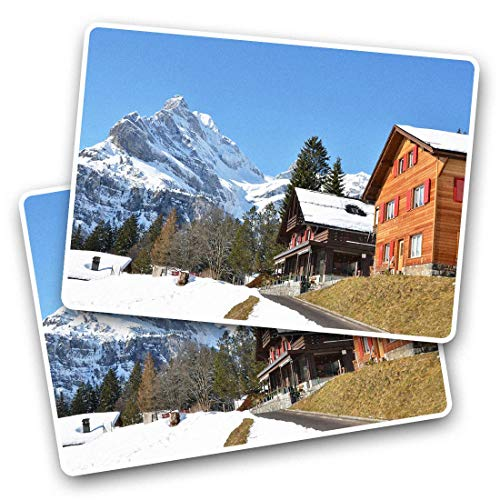 Awesome Rectangle Stickers(Set of 2) 7.5cm - Braunwald Swiss Ski Resort Switzerland Fun Decals for Laptops,Tablets,Luggage,Scrap Booking,Fridges,Cool Gift #44437