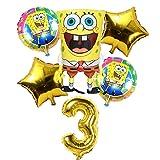 CHENZHAOL Niños Globo 6 Unids Globos de Bob Esponja de Cumpleaños 3D Set Suministros de Fiesta Globos Decoración de Bebé Decoración de Fiesta Infantil Globos de Bob Esponja Helio (Color : 3)