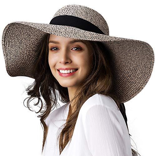 "FURTALK Women Sun Straw Hat Wide Brim UPF 50+ Beach Hats for Women Summer Bucket Hat Foldable, Khaki Mixed, M (Head Circum 22.1""- 22.6"")"