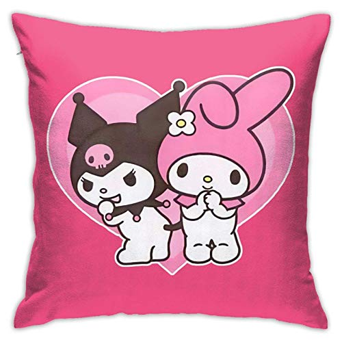 Tengyuntong Throw Square Throw Pillowcover/PillowcaseMy Melody y Kuromi Cojines para Silla Cojines para Coche Decoraciones Interiores para sofá Sofá Silla Dormitorios 18x18 Pulgadas