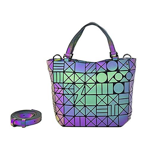 QIANJINGCQ Modetrend leuchtende geometrische One-Shoulder- sich ständig ändernde tragbare faltbare personalisierte Diamant-Eimer-Tasche Rucksack Dame Umhängetasche