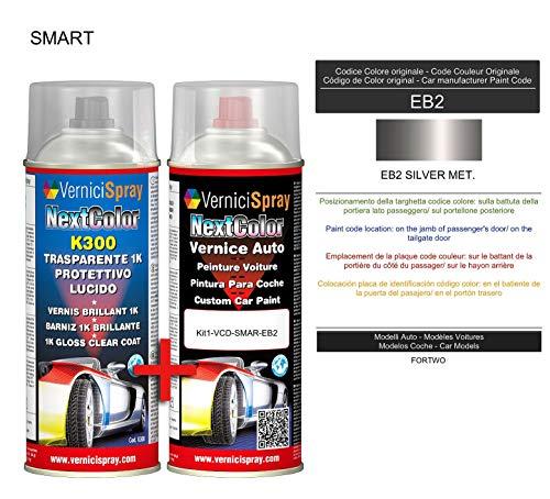 Kit Vernice Auto Spray EB2 SILVER MET. e Trasparente Lucido Spray - kit ritocco vernice metallizzata 400+400 ml di VerniciSpray