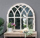 Rustic Arched Windowpane Wood Framed Wall Mirror, Cathedral Accent Wall Mirror, Shabby-Chic Farmhouse Wall Decor for Living Room, Bedroom, Dining Room or Entryway, Distressed White,31-7/8'W x 31-7/8'H