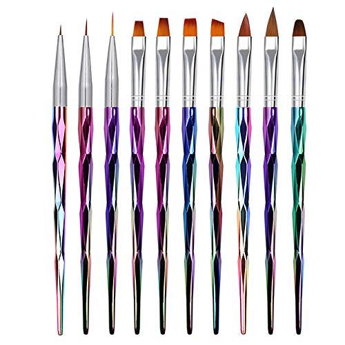 Mwoot 10 Teilig Nagel Pinsel Set, Nagel Kunst Malerei Zeichnung Pinsel Pen für UV-Gel und Acrylfingernägel, nailart Liner Pinsel, Nagelzubehör design Pediküre Maniküre