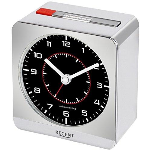 Regent 44-860-18 Primus Funk Wecker Funkwecker Kunststoff Analog Licht Alarm Silber