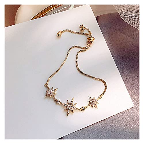 Pulsera, 925 Pulsera de Boda de Plata esterlina para Mujeres Ocho Estrella diseño de Cristal joyería Accesorios de Fiesta Regalo (Color : Metallic)