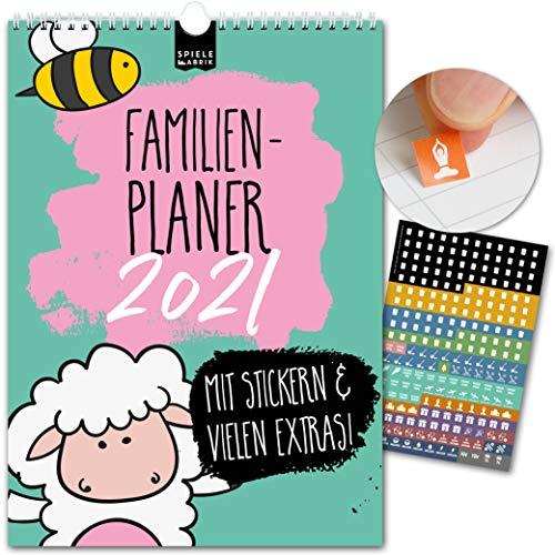 A4 Familienplaner 2021 kompakt – KIDS | 5 Spalten | Wandkalender: 21x29,7cm | Familienkalender mit Tier-Motiven für Kinder | Extras: 228 Sticker, Ferien, Jahreskalender, Vorschau bis März 2022