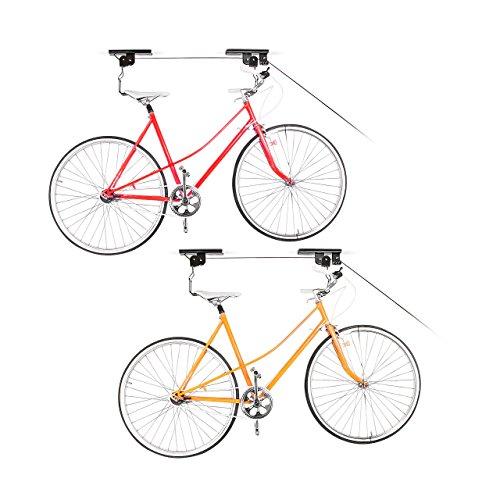 2 x Fahrradlift im Set, mit Seilzug, universal Fahrradhalterung, zur Deckenmontage, für 2 Fahrräder