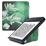 kwmobile Carcasa Compatible con Kobo Libra H2O - Funda magnética de Origami para e-Book - Magnolia Blanco/Amarillo/Verde