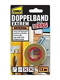 UHU Doppelband Extrem, Extrem hohe Klebekraft von 120 kg/ Rolle, 1,5 m x 19...