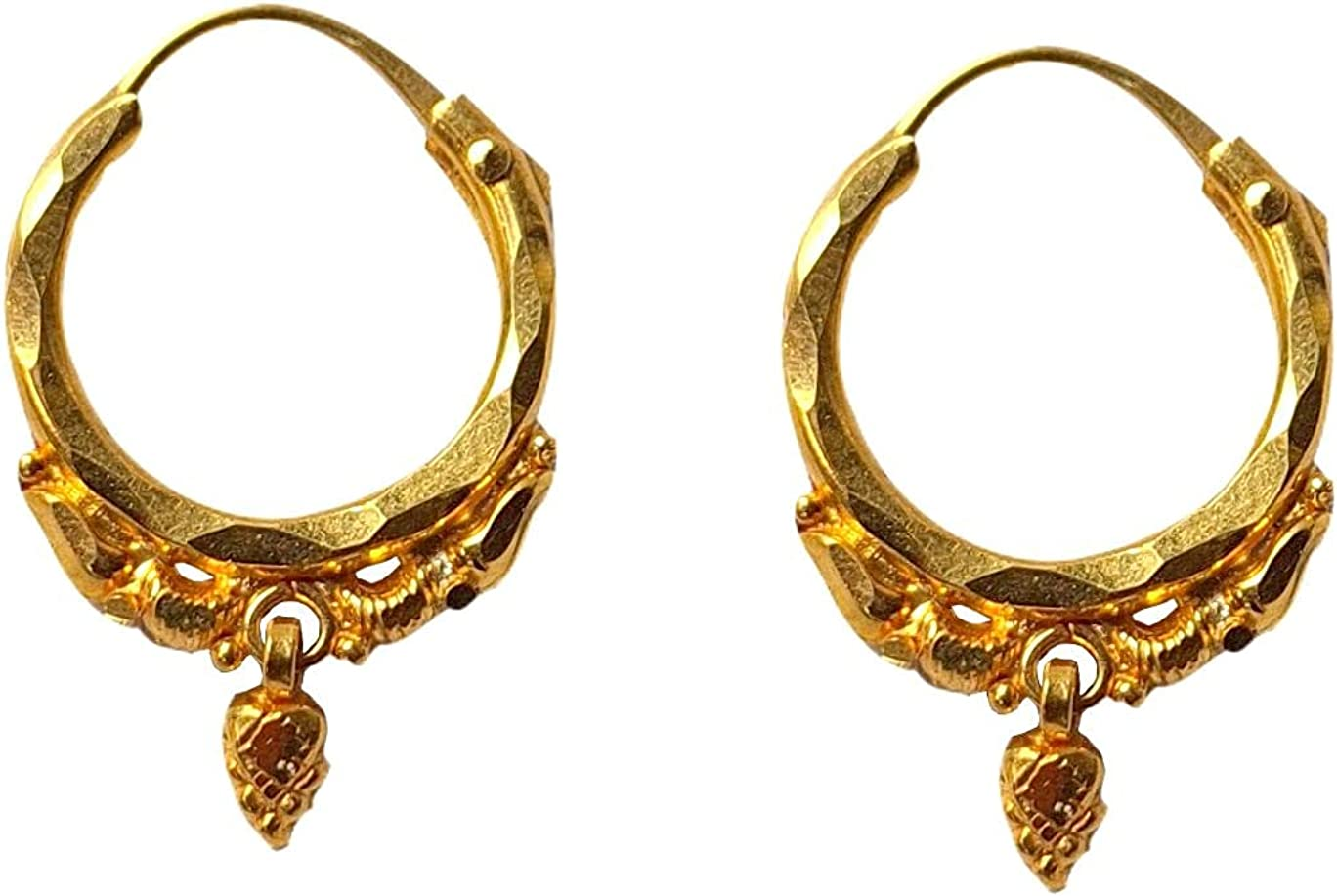 Certified Solid 22K/18K Yellow Fine Gold Gorgeous Carved Design Hoop Earrings Available In Both 22 Carat And 18 Carat Fine Gold, For Women,Girls,Kids,Gifts,Bridal,Wedding,Engagement & Celebrations
