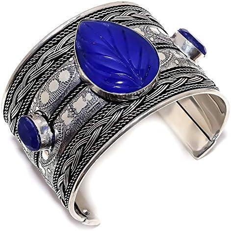 YUVI Carved Blue Sapphire Gemstone 925 Sterling Silver Cuff Brac