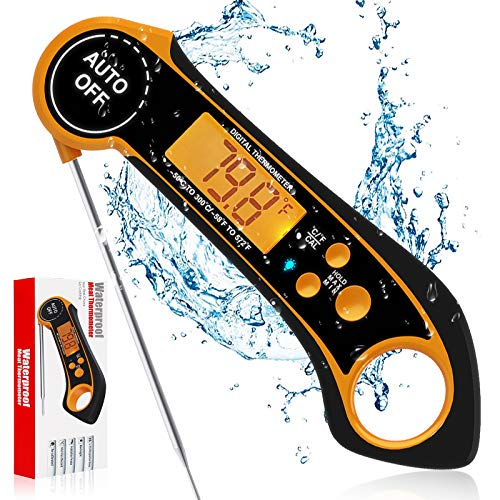 Aionly Meat Thermometers, Digital Instant Read Food Thermometer with Foldable Probe、Backlight、Magnet,Kitchen Waterproof TPU Rubber Cooking Thermometer for Deep Fry、BBQ、Grill and Roast Turkey (OrangeB)