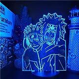 3D Optical Illusion Night Light for Kids,Naruto 3D Lamp Uzumaki Naruto Jiraiya Anime Night Light Bedroom Decor Lampara Xmas Kids Gift Lights Creative Decoration Lighting(no Remote Control)