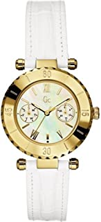 Women's Diver Chic 34mm White Leather Band Steel Case Quartz MOP Dial Analog Watch I25039L1