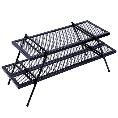 REDCAMP Camping Assembly Campfire Grill Grate, Heavy Duty Steel Portable Over Fire Camp Grill Excellent for Camping, Parties