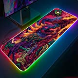 Mouse Pads Hyperbeast CS GO Wallpapers Gaming RGB Mouse Pad XXL Large Gaming Laptop Pad LED Keyboard...
