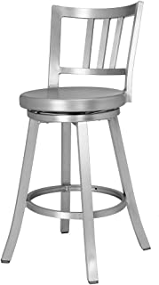 Renovoo Aluminum Swivel Counter Hgt Bar Stool, Commercial Quality, Fully Assembled, Brushed Aluminum Finish, 24 Inch Seat Hgt, Indoor Outdoor Use, 1 Pack