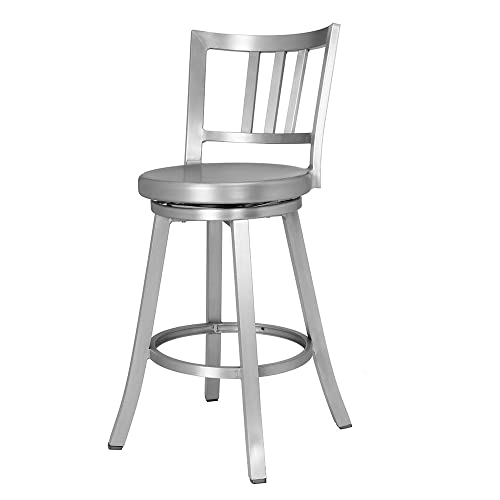 Charmant Renovoo Aluminum Swivel Counter Stool, Brushed Aluminum Finish, 24 Inch  Seat Height, Indoor