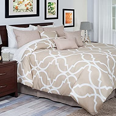 Bedford Home 7-Piece Trellis Comforter Set, Queen